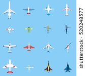 airplanes set  top view in flat ... | Shutterstock .eps vector #520248577