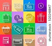shopping icon set. e commerce...   Shutterstock .eps vector #520248847