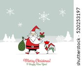 santa claus with rooster ... | Shutterstock .eps vector #520253197