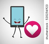 smartphone character and heart... | Shutterstock .eps vector #520256923