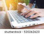 online payment  man's hands...   Shutterstock . vector #520262623