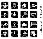 child care icons set. grunge...   Shutterstock .eps vector #520266427