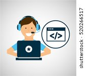 character headset laptop coding ... | Shutterstock .eps vector #520266517