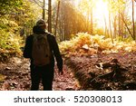 a hiker with backpack is... | Shutterstock . vector #520308013