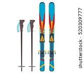 ski and sticks vector... | Shutterstock .eps vector #520309777