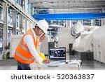 engineer using laptop computer... | Shutterstock . vector #520363837