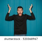 portrait of young man with... | Shutterstock . vector #520368967