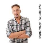 handsome man on white background   Shutterstock . vector #520388593