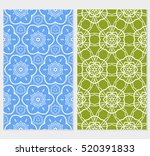 set of modern floral seamless... | Shutterstock .eps vector #520391833