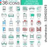 vector interior furniture flat... | Shutterstock .eps vector #520403293