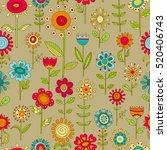 vector flower pattern. colorful ... | Shutterstock .eps vector #520406743