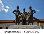 Small photo of 3 Kings Monument in front of Art and culture city , Chiang Mai,northern of Thailand ,blue sky, blue sky cloud