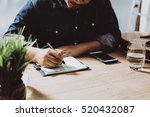 image of businessman working at ... | Shutterstock . vector #520432087