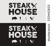 steak house vintage label.... | Shutterstock .eps vector #520442833