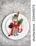 christmas table place setting... | Shutterstock . vector #520449073