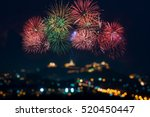 beautiful firework display for... | Shutterstock . vector #520450447