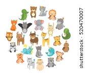 cute vector zoo.  animals. hare ... | Shutterstock .eps vector #520470007