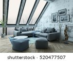 rooftop apartment interior with ... | Shutterstock . vector #520477507
