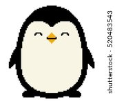 pixel art cute cartoon penguin...