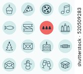 set of 16 new year icons. can... | Shutterstock .eps vector #520509283