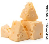 cheese block isolated on white... | Shutterstock . vector #520509307