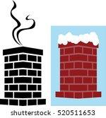 Brick Chimney Icon With Snow...