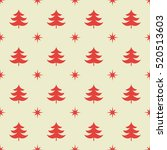 christmas trees and stars red... | Shutterstock .eps vector #520513603