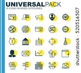 set of 25 universal editable... | Shutterstock .eps vector #520516507