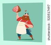 farmer hold pig leg pork... | Shutterstock .eps vector #520517497