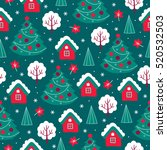 christmas seamless pattern with ...   Shutterstock .eps vector #520532503