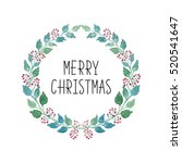 merry christmas wreath with... | Shutterstock . vector #520541647