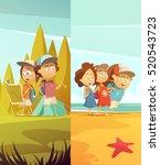 camping kids vertical banners...   Shutterstock .eps vector #520543723