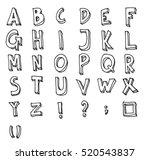 hand drawn alphabet letters... | Shutterstock .eps vector #520543837