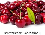 Red Cherry With Leaf Isolated...