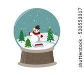 merry chritmas image of snowman | Shutterstock .eps vector #520553317