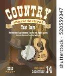 country festival vertical poster | Shutterstock .eps vector #520559347