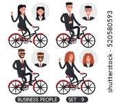 business people set 9. bicycle... | Shutterstock .eps vector #520580593