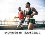 couple running in new york  ... | Shutterstock . vector #520583017