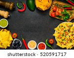 copy space frame with tortilla... | Shutterstock . vector #520591717