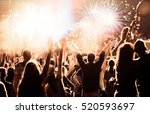 cheering crowd watching... | Shutterstock . vector #520593697