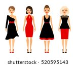 women in retro dresses on white ... | Shutterstock .eps vector #520595143
