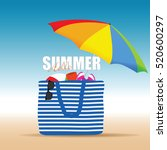 hallo summer on color bag with... | Shutterstock .eps vector #520600297