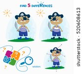 find 5 differences. cartoon... | Shutterstock .eps vector #520608613