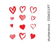 Hand drawn hearts. Design elements for Valentine's day. | Shutterstock vector #520631197