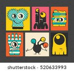 set of retro postage s stamp... | Shutterstock .eps vector #520633993