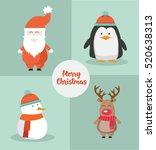 set of cute christmas... | Shutterstock .eps vector #520638313