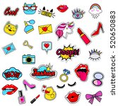 fashion patch badges with lips  ... | Shutterstock .eps vector #520650883