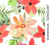 floral seamless pattern with... | Shutterstock . vector #520651387