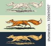 Running Fox. Cartoon  Fox...