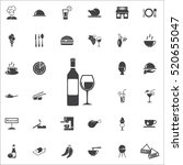 bottle of wine and glass icon... | Shutterstock .eps vector #520655047